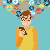 Smartphone-verslavingsconcept royalty-vrije illustratie