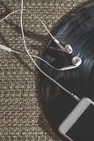 Smartphone and vintage LP. Close up Royalty Free Stock Photos
