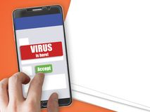 Smartphone with virus notification and accept button. Mobile phone mockup with red virus warning notification and green accept button Stock Images