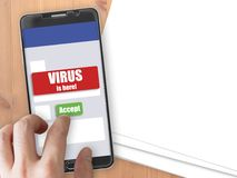 Smartphone with virus notification and accept button. Mobile phone mockup with red virus warning notification and green accept button Stock Photos