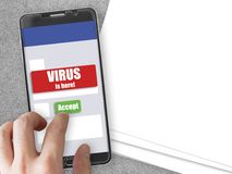 Smartphone with virus notification and accept button. Mobile phone mockup with red virus warning notification and green accept button Royalty Free Stock Photography