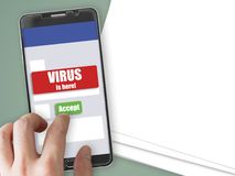 Smartphone with virus notification and accept button. Mobile phone mockup with red virus warning notification and green accept button Stock Photo