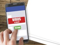 Smartphone with virus notification and accept button. Mobile phone mockup with red virus warning notification and green accept button Royalty Free Stock Photo