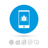 Smartphone virus sign icon. Software bug symbol. Royalty Free Stock Image
