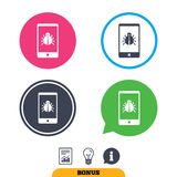 Smartphone virus sign icon. Software bug symbol. Stock Images