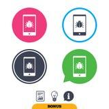 Smartphone virus sign icon. Software bug symbol. Royalty Free Stock Photos