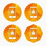 Smartphone virus sign icon. Software bug symbol. Royalty Free Stock Photo
