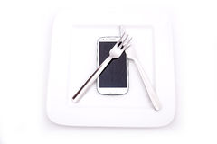 Smartphone-Voedsel Royalty-vrije Stock Foto's