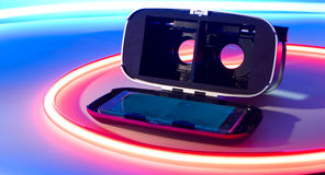 Smartphone VR exponeringsglasny teknik Royaltyfria Foton