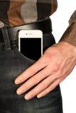 Smartphone w kieszeni cajgi Fotografia Royalty Free