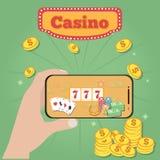 Smartphone w ręce z onlinym kasynem na ekranie Uprawiać hazard app pojęcia ilustracji
