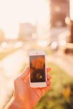 Smartphone w ręce, Zdjęcie Royalty Free