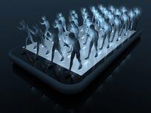 Smartphone walk on smartphone Royalty Free Stock Image