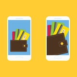 Smartphone, wallet and credit cards, set 2 Royalty Free Stock Image