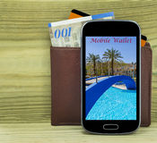 Smartphone with wallet,money and credit card Stock Image