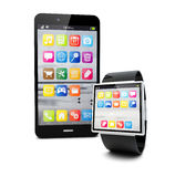 Smartphone and watch Royalty Free Stock Photo