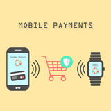 Smartphone and watches with mobile payments. Smartphone and watches with processing of protected mobile payments from credit card nfc technology communication Stock Image