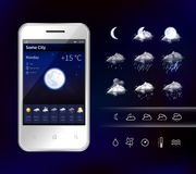 Smartphone Mobile Weather Realistic Image. Smartphone weather app widgets with detailed hourly forecast accurate information service realistic image dark royalty free illustration