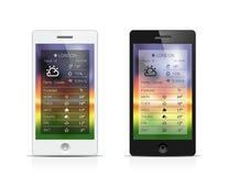 Smartphone weather widget Royalty Free Stock Photo