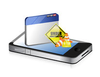 Smartphone website under construction sign Stock Photo