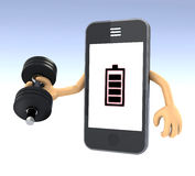 Smartphone weight training Stock Photography
