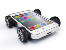 Smartphone on wheels. 3d render vector illustration