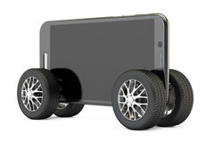 Smartphone on wheels, 3D rendering. On white background Stock Images