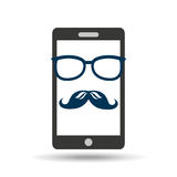 Smartphone whit mustache and glasses design. Smartphone whit mustache and glasses  design,  illustration eps10 graphic Stock Photography