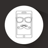 Smartphone whit mustache and glasses design. Smartphone whit mustache and glasses  design,  illustration eps10 graphic Royalty Free Stock Photos