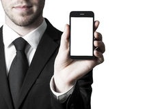 Smartphone white blank display in hand Royalty Free Stock Images
