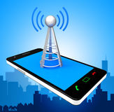 Smartphone Wifi Indicates World Wide Web And Antenna Stock Images