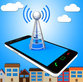 Smartphone Wifi Means World Wide Web And Access Royalty Free Stock Image