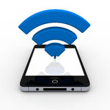 Smartphone with WiFi symbol. 3D illustration of WiFi symbol above smartphone with blank screen Royalty Free Stock Photos