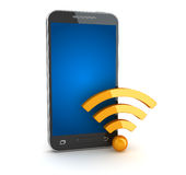 Smartphone and wifi symbol Royalty Free Stock Photography