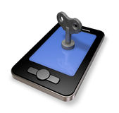 Smartphone with wind up key Royalty Free Stock Image