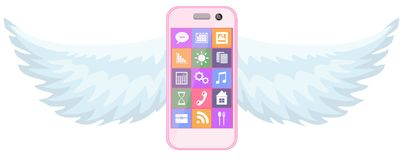 Smartphone with wings Stock Image