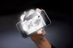 Smartphone winter illustration Stock Photos