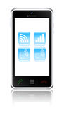 Smartphone with wireless communications icons Stock Image
