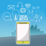 Smartphone wireless technology communication social media city background Stock Photography