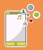 Smartphone wireless technology communication social media orange background Stock Photo