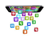 Smartphone With Cloud Of Application Icons Royalty Free Stock Photos