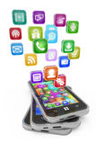 Smartphone With Cloud Of Application Icons Isolated Royalty Free Stock Image