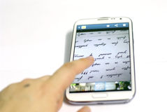 Smartphone With With Finger Royalty Free Stock Images
