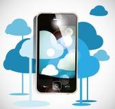 Smartphone-Wolkendatenverarbeitung Stockbild