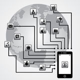 Smartphone and world Royalty Free Stock Photography