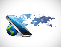 Smartphone world connection concept illustration Royalty Free Stock Photography