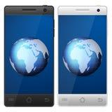 Smartphone world globe Royalty Free Stock Photos