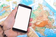 Smartphone on World Map Stock Image