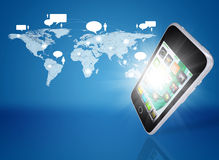 Smartphone and world map with contacts Royalty Free Stock Photos