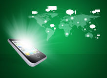 Smartphone and world map with contacts Stock Image